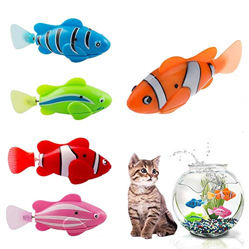 Hcpet Cat Interactive Toy, 5PCS Cat Toys Electric Artificial Moving Fishes Cat Teasing Toy Kitten Toys (A)