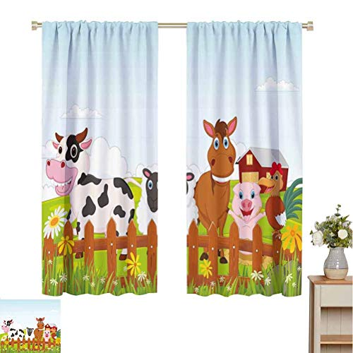 Animal 100% blackout lining curtain Cute Farm Creatures with Cow Horse Goat Pig and Chicken by the Fences Kids Cartoon Full shading treatment kitchen insulation curtain W84 x L108 Inch Multicolor