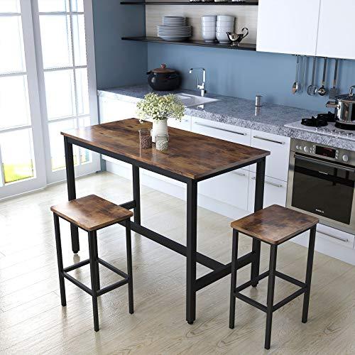 Bartisch-Set mit 2 Barhockern, Frühstückstisch und Hockern, Küchentheke mit Barhockern für Küche, Wohnzimmer, Partyraum, rustikales Braun, 120 x 60 x 90,5 cm