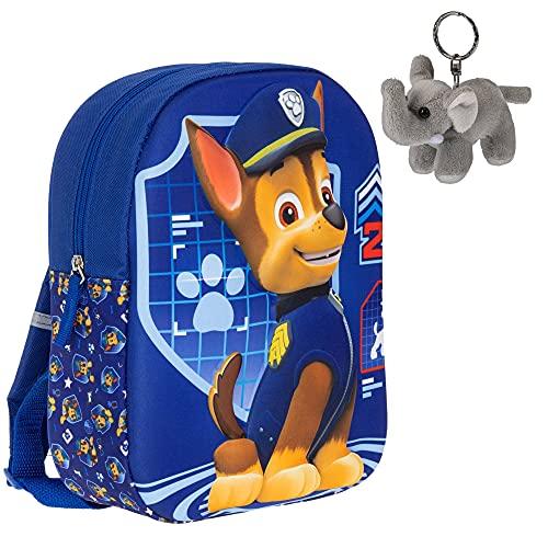 Fabrizio Kinderrucksack PAW Patrol Rucksack für Mädchen, Jungen, Kinder, ab 3 Jahren 3D Motiv klein 20630 + Elefant-Anhänger (Chase Blau 0600)