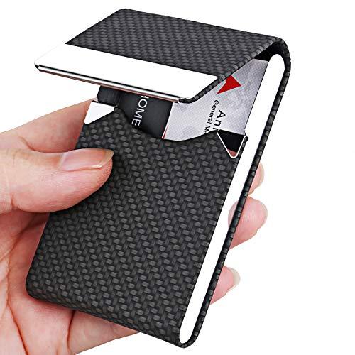 Business Card Holder, Metal Business Card Case Pocket, Card Holder for Women & Men, Professional PU Leather Business Card Holders Name Card Holder Purse Card Case with Magnetic Closure, Black-xbz