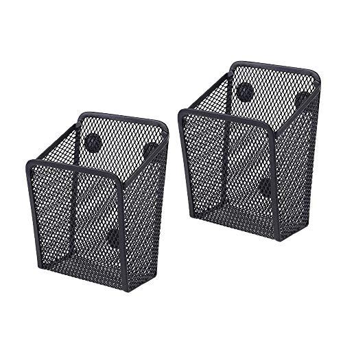 2er-Pack Magnetischer Aufbewahrungskorb, Schwarzem Quadratmaschen Magnetische Metall Aufbewahrungsgestelle Für Kühlschrank, Schließfachzubehör, Organizer Für Bürobedarf (A)