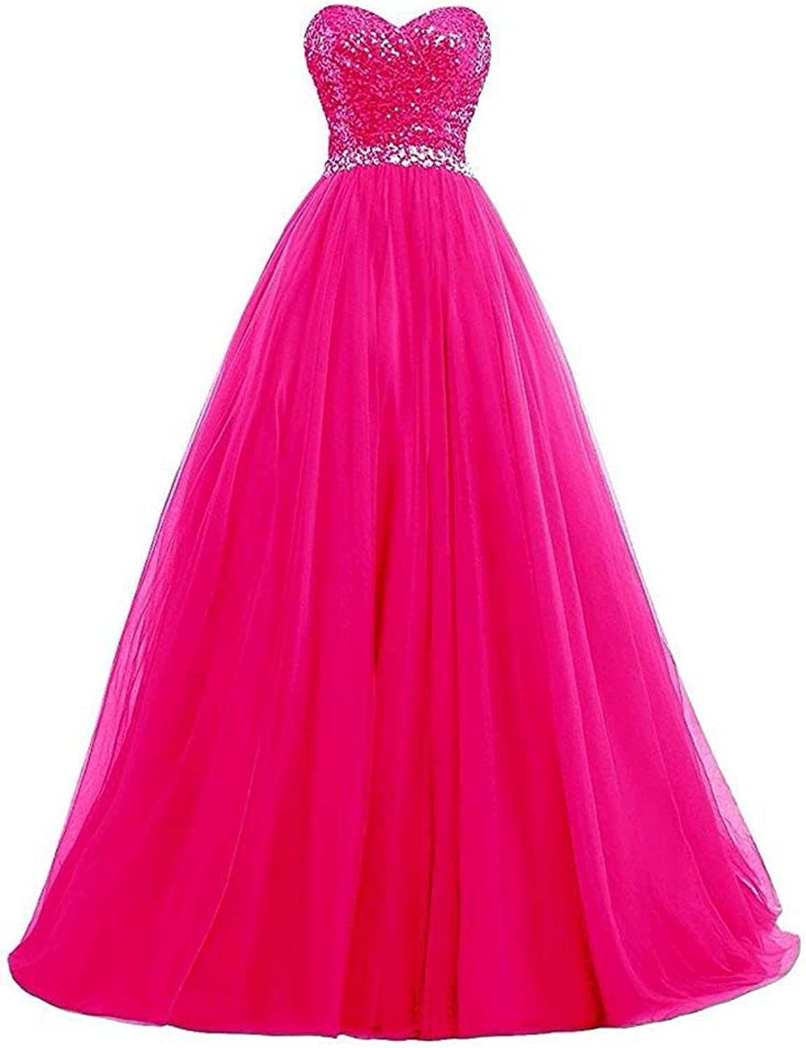 EileenDor Women's Puffy Prom Gowns Pleated Sequins Tulle Ball Gown Sweet 16 Evening Party Dresses