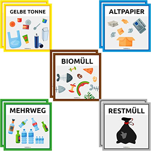 5 x 7,5 cm Recycling Aufkleber Set M/üll Abfall Sticker 8 Motive
