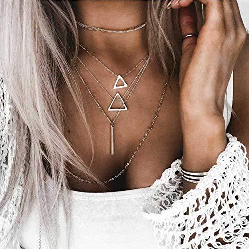 Jovono Bohemian - Mehrschichtige Halskette mit Dreieckanhänger für Frauen und Mädchen (Silber)
