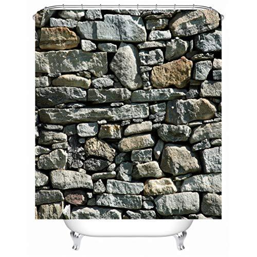 X-Labor - Cortina de ducha con diseño de piedra, resistente al agua, tela anti-moho, incluye 12 anillas para cortina de ducha, lavable, 240 x 200 cm, tejido, Patrón-F., 240*200cm (B*H)