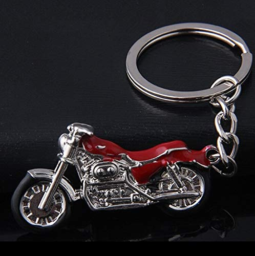 Motorrad Chopper Schlüsselanhänger silberfarben/schwarz Metall Moped | Chopper | Geschenk | Harley | rot