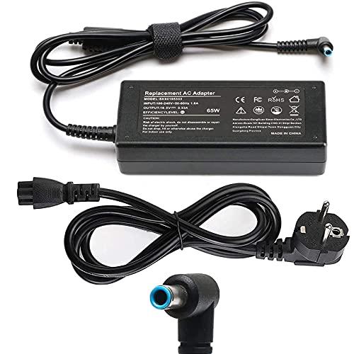 HP 65W Chargeur pour ordinateur portable 19,5V 3,33A Bloc d'alimentation avec câble d'alimentation pour HP Pavilion x360 11 13 15, EliteBook Folio, Spectre Ultrabook et plus (4,5 x 3 mm)
