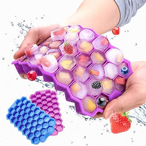 JuguHoovi Silikon Eiswürfelform,Eiswürfelform Silikon mit Deckel 37 Fach Eiswürfelbehälter Eiswürfelschalen DIY Eiscreme Eiswürfelbox Ice Tray Ice Cube für Bier Whisky Babynahrung Milch Fruchtsaft