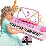 magicfun tastiera elettronica, chargable tastiera portatile 61 tasti pianoforte multifunzione , pianoforte musicale con leggio e microfono, giocattolo educativo per bambini bambino regalo (rosa)