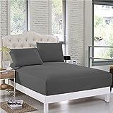 Comfort Beddings Sábanas bajeras de alta calidad extra profundas, 40 cm de profundidad, 600 hilos, 100% algodón egipcio, color gris, súper suave, hipoalergénicas sábanas bajeras (Emperor, gris)