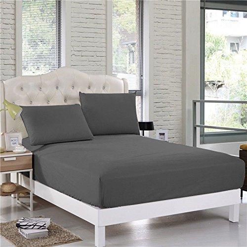 Comfort Beddings Sábana bajera ajustable extra profunda de 40 cm de profundidad de 600 hilos, 100% algodón egipcio, color gris, supersuave, hipoalergénica, individual, color gris