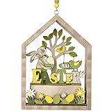 Valery Madelyn Coniglietto di Pasqua in Legno 20cm LED Decorazione di Pasqua Figurina e Statuetta di Conigli Pasquali Decorazione di Primaverile per Pasqua Casa Giardino Giallo Verde