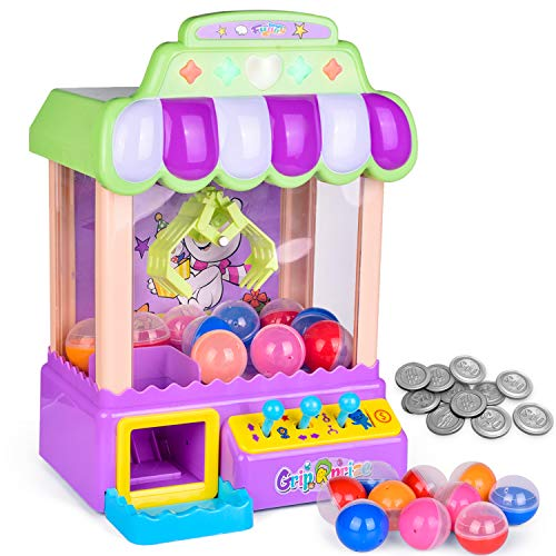 FUN LITTLE TOYS Mini Claw Machine Game Toy with Light and Sounds, Electronic Claw Toy Candy Grabber Machine for Kids Birthday Gifts, 10 Capsules