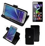 K-S-Trade® Handy Hülle Für Archos 55 Platinum Flipcase Smartphone Cover Handy Schutz Bookstyle Schwarz (1x)