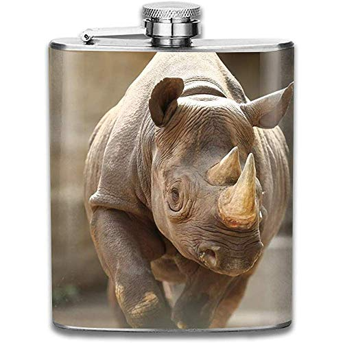 Kühle schwangere Rhino Retro tragbare auslaufsichere Alkohol-Whisky-Alkohol-Wein-Topf-Flachmann aus Edelstahl