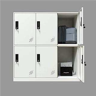 MECOLOR Casier en métal à 6 portes pour bureau, salon, école, chambre et bureau avec portes et verrou pour tissu Blanc 6D