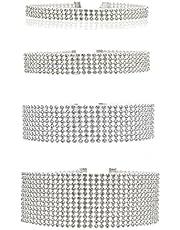 Elegant Rose, 4-8 collane girocollo, spessore regolabile da 1 a 3,8 cm, con cristalli strass trasparenti o colorati, da donna