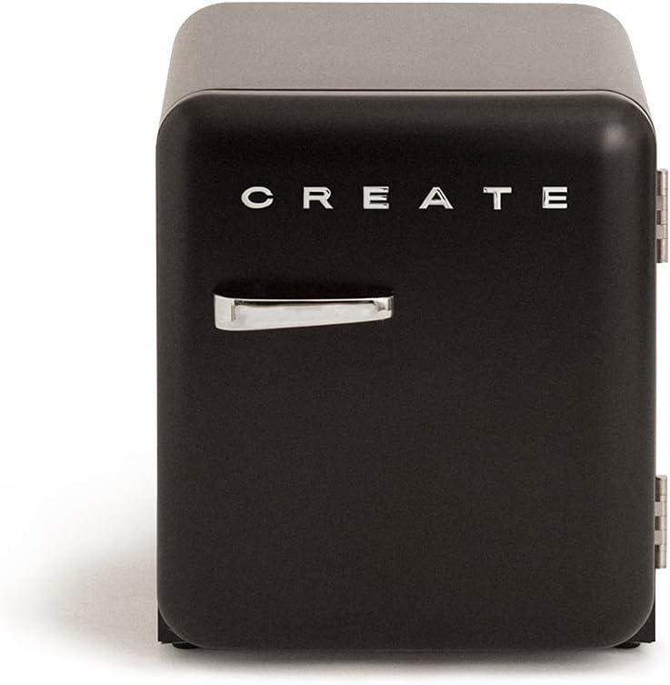 IKOHS Retro Fridge - Frigorífico de diseño, Control de Temperatura Ajustable, Estantes Intercambiables, Estética Vintage de los años 50, Clase Energética A+ (Negro, 50 cm)