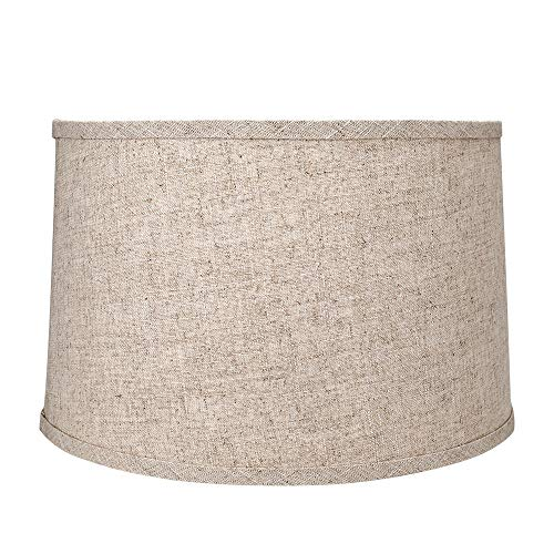 Tootoo Star Brown Lamp Shade Large Drum Lampshade for Chandeliers Floor Light and Table Lamp 13x14x9,Fabric Natural Linen Hand Crafted,Spider