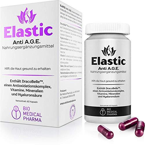Elastic Anti A.G.E. | Cuidado de la piel desde el interior con ácido hialurónico, DracoBelle Nu, vitamina C, B3, B5, zinc, selenio - 60 cápsulas vegetarianas