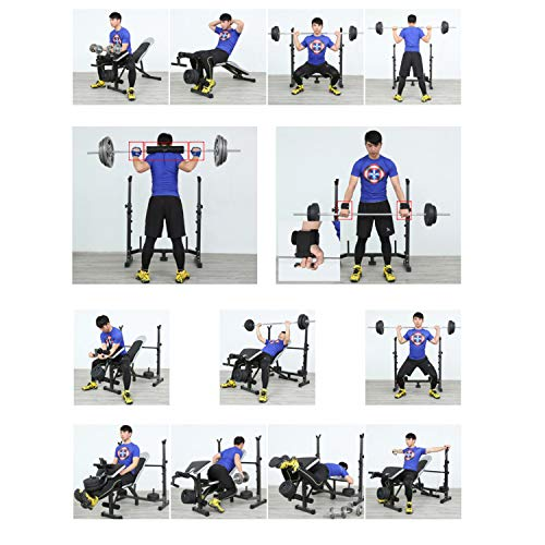 Weightlifting Bed Bench Press Squat Rack Indoor Multi-Function Adjustable Olympic Weight, Strength Training Fitness Equipment