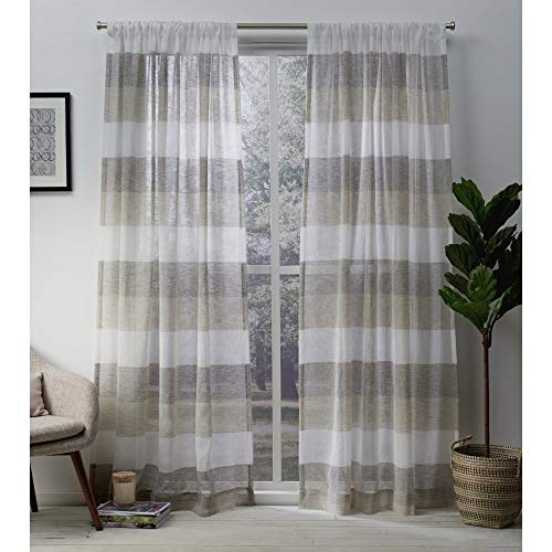 Exclusive Home Curtains Bern Striped Sheer -Rod Pocket Panel Pair, 50x108, Natural, 2 Count