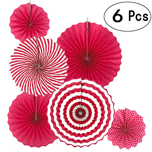Hot Pink Round Paper Fans Hanging Decorations Baby Shower Birthday Wedding Bridal Shower Party Fans Decorations, 6pc