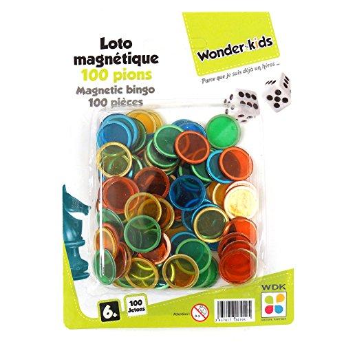 WDK PARTNER - A1300729 - Jeux de société - 100 pions Loto magnétiques