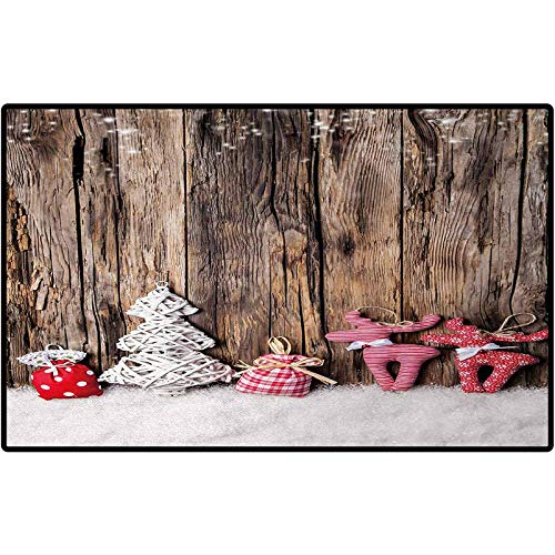 RenteriaDecor Winter Entryway Rug Traditional Cute Cloth Christmas Inspired Figures Rustic Wooden Planks Vintage Indoor or Outdoor Rugs for Door Mats 47x35 Brown White Pink