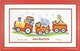 Vervaco - Kit per Punto Croce per Nascita, Motivo: Trenino con Animali, Multicolore