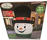 Gemmy 10Ft. Christmas Inflatable Airblow Snowball Snowman with Top Hat Indoor/Outdoor Holiday Decoration