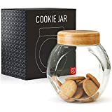 Cookie Jar for Kitchen Counter - Glass Jar with Lid - Cookie, Pastries, Cake and Candy Jar - Kensington London BPA-Free Clear Glass Storage Container Canister with Airtight Bamboo Lid - 76 ounce