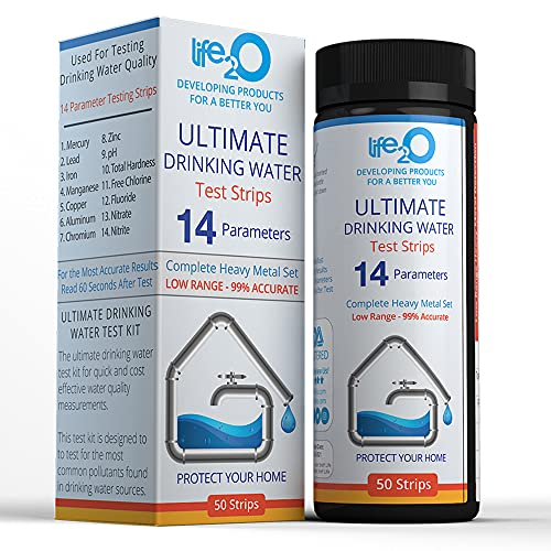 ULTIMATE 14-in-1 Drinking Water Test Kit, Testing Strips for Hardness, Chlorine, Fluoride, Trace...