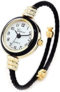 f2d7b5ce0 Black Gold Geneva Cable Band Women's Small Size Bangle Watch