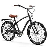 sixthreezero EVRYjourney Men's 7-Speed Hybrid Cruiser Bicycle, Matte Black w/Brown Seat/Grips, 26' Wheels/19 Frame