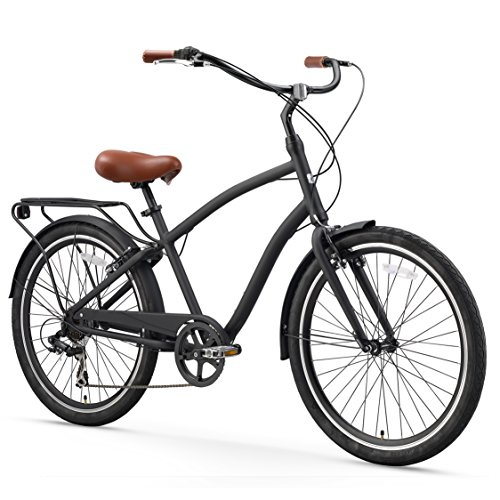 sixthreezero EVRYjourney Men's 7-Speed Hybrid Cruiser Bicycle, Matte Black w/Brown Seat/Grips, 26' Wheels/19 Frame