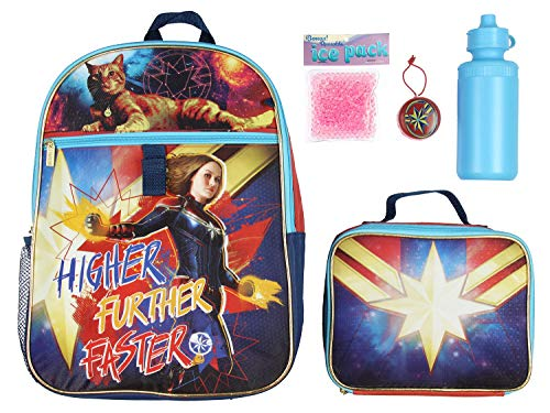 Captain Marvel Backpack Lunch Kit Water Bottle 5 Pc. Mega Set