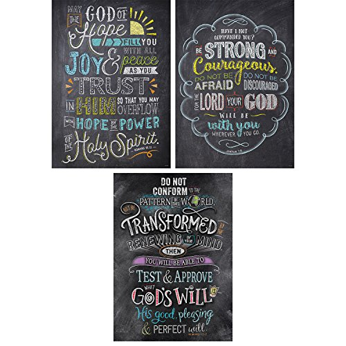 Creative Teaching Press Wall Décor, Religious Bible Verses in Chalk Rejoice Inspire U Poster 3 Pack (Accent Classrooms, Walls, Hallways, Learning Spaces, Common Areas and More)