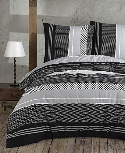 Buymax Bettwäsche Bettbezug 200x220 cm, 2 x Kopfkissenbezüge 80x80 cm 3 teilig Bettgarnitur Bettbezüge - Set Baumwolle Renforcé mit Reißverschluss
