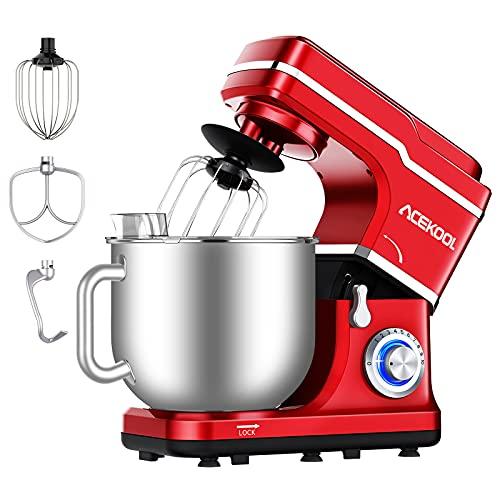 Küchenmaschine Acekool 1400W MC1 Knetmaschine Rührmaschine mit 7L Edelstahl-Rührschüssel, 10 Geschwindigkeiten Geräuscharme Teigknetmaschine, Schläger, Knethaken & Schlagbesen (Rot)