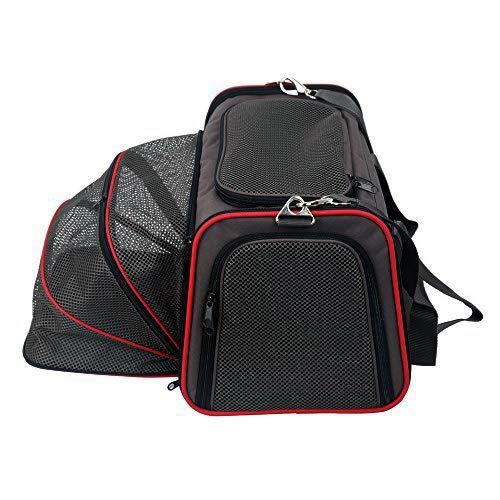 ABISTAB Hundebox faltbar Transportbox Hunde und Katze Transporttasche für Auto- und Flugreisen geeignet Tragetasche Komfo 50cm einseitig ausklappbar:Schwarz-Kirschrot