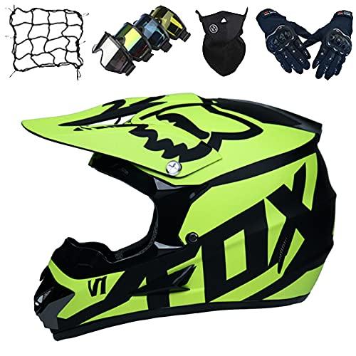 Casco Motocicleta, Juegos Cascos Motocicleta para Niños con Gafas/Guantes/Máscara/Red Elástica, Casco Motocross para Jóvenes Adultos para Dirt Bike ATV Offroad - con Diseño Fox - Amarillo