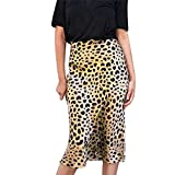 PJR Falda Midi de Leopardo de Cintura Alta Faldas de satén elásticas Invisibles Faldas de satén elásticas Falda Estilo Slip Animal Print Mujer, Amarillo, S