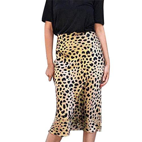 PJR Falda Midi de Leopardo de Cintura Alta Faldas de satén elásticas Invisibles Faldas de satén elásticas Falda Estilo Slip Estampado Animal Mujer