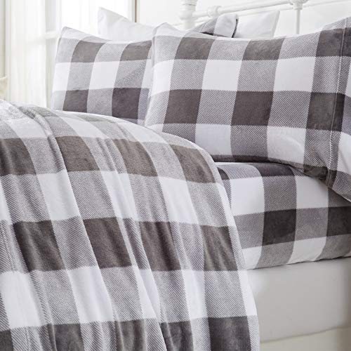 Great Bay Home Extra Soft Cozy Velvet Plush Sheet Set. Deluxe Bed Sheets with Deep Pockets. Velvet Luxe Collection (Queen, Buffalo Check - Buffalo...