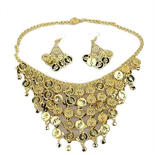 AMOYER 1 Satz Bauchtanz-Schmuck-Set Halsketten-Ohrringe Für Frauen-Feiertags-Party Kostüm Zubehör