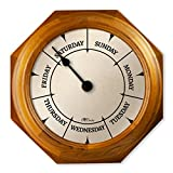 """DayClocks Classic Day Clock – Day of The Week Clock – Day to Day Clock with Noon & Midnight Markers – Unique & Fun Retirement Gift – 9.5"""" Oak Wall Clock"""