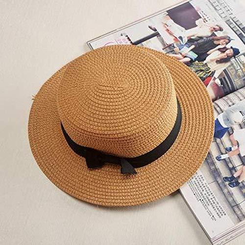 WYRKYP Sombrero de Sol Sombrero de Paja Sombrero de Playa Simple Sombrero Hembra Casual Damas Mujer Plano Sombrero de Paja Sombrero,Khaki 1 56-58Cm