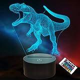 Dinosaurier-Geschenke für Kinder, Mädchen, 3D-Lampe, Dinosaurier-LED-Illusion, Nachtlicht mit Fernbedienung, 16 Farben wechseln (Dinosaurier)